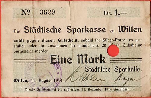 WITTEN - K435b - 1.00 MK - 11.8.1914 - No.3629 -CANCELLED - FINE $3.00 -  SOLD