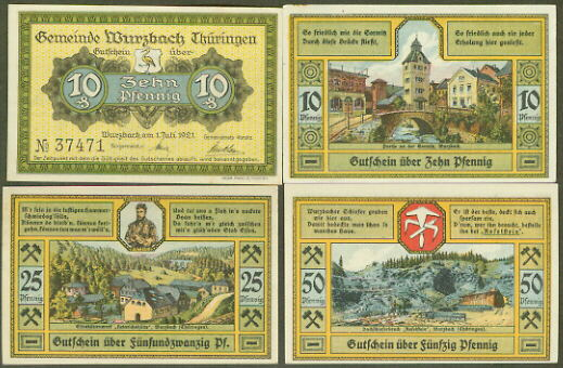 10 Pfg 50 Pfg   1-JAN-1921   UNC German NOTGELD LEHRTE x 4    5 Pfg 25 Pfg